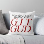 A Nice Warm Cup of Git Gud (Version 1) Throw Pillow RB0909 product Offical Dark Souls Merch